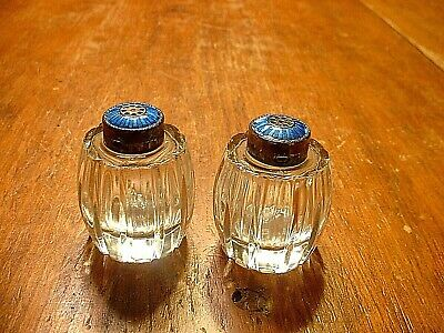 Vintage Meka Denmark Sterling & Blue Guilloch Enamel Salt & Pepper Shakers