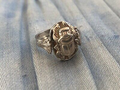 Vintage Egyptian Revival Silver Ring, Scarab Beetle Hallmarked, UK Size L, US 6