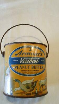 Vintage Armour's Veribest Peanut Butter 2# Tin Pail - No Lid - Free Shipping