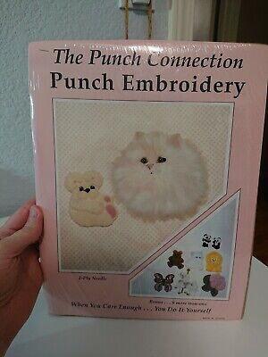 punch connection embroidery cat teddy bear
