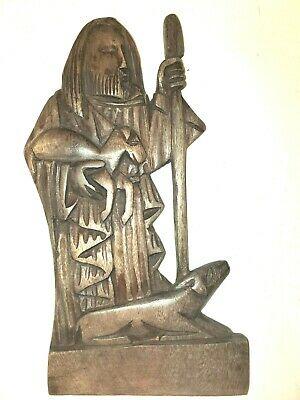 Hand Carved Wooden Saint Francis Of Assisi - FOLK ART