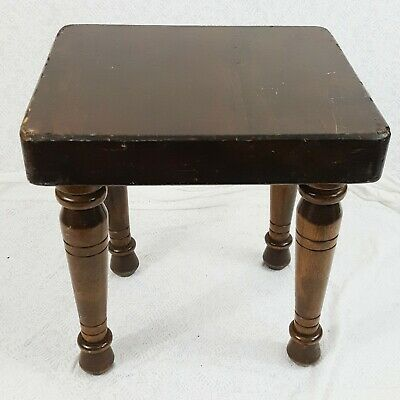 Old Vintage Small Primitive Dark Wooden Step Stool Country Rustic Farmhouse 10""