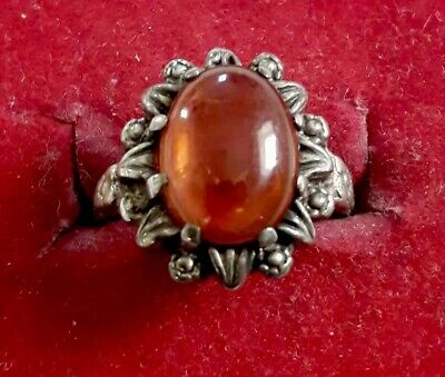 Pretty Antique Real Silver Ring with Amber (j6)