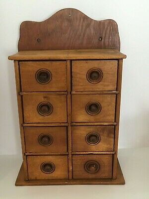 Antique Hanging 8 Drawer Wood Spice Cabinet Box