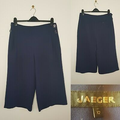 JAEGER Culottes Blue Wide Leg Trousers Navy UK 12 Work Office Trend Blogger