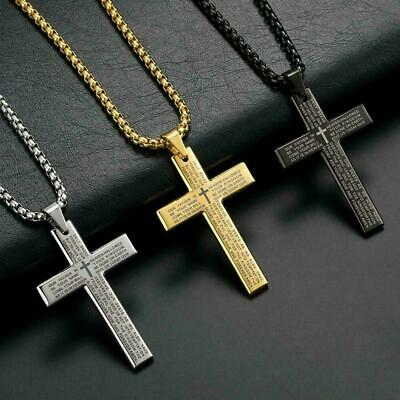 "Mens Stainless Steel Christ Jesus Bible Cross Pendant Necklace Chain 24"" A5P6"