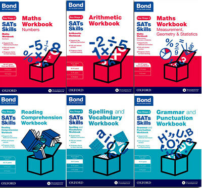 BOND SATs SKILLS ENGLISH & MATHS Practice Workbooks 10-11+ Yrs 6 Book Set KS2