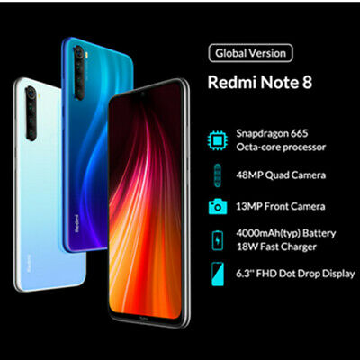 2 Nano SIM 6.3''Redmi Note8 Lte 4G Smartphone 64GB/128GB Handy Quad-Kamera 48MP