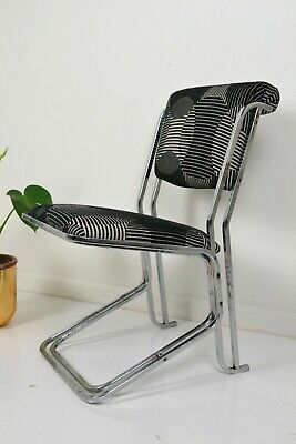 Reverse Cantilever Chrome 1930s Art Deco upholstered dining chair vintage retro