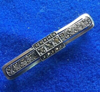 Antique used 925 Silver Art Deco Marcasite Geometric Bar Brooch - 5 Gm