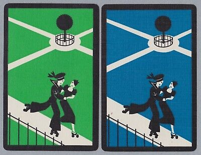 2 Single VINTAGE Swap/Playing Cards DECO COUPLE SKATING SAILOR + GAL Green Blue