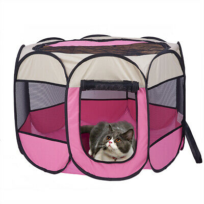 31in Tent House Bed Pet For Puppy Dog Cat Tent Outdoor Pink Collapsible Folding