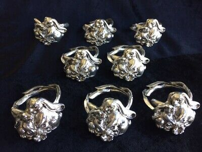 1995 Arthur Court Bunny Rabbit Napkin Rings set 8 signed & dated inside rings