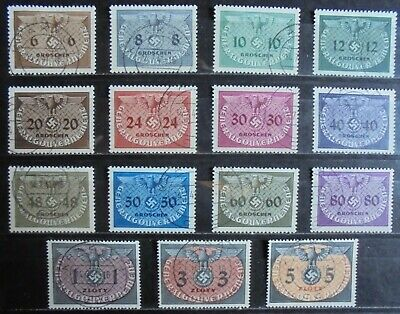GENERAL GOVERNMENT 1940 Officials, Complete Set of 15 Used
