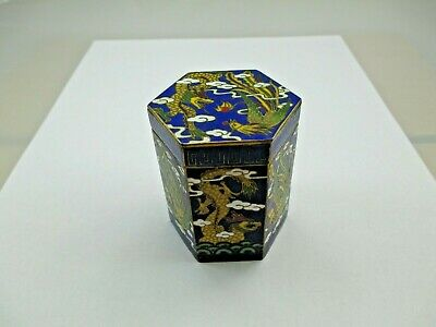 Chinese Cloisonne DRAGON ENAMEL Opium Canister Jar Box Trinket Antique 436D