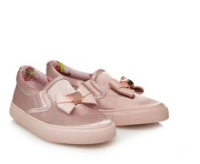 Baker by Ted Baker - 'Girls' pink satin slip-on trainers BNWT Size 9
