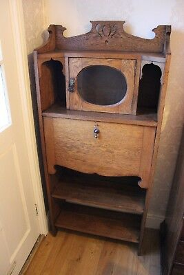 Light Oak Arts & Crafts Bureau Bookcase Cabinet
