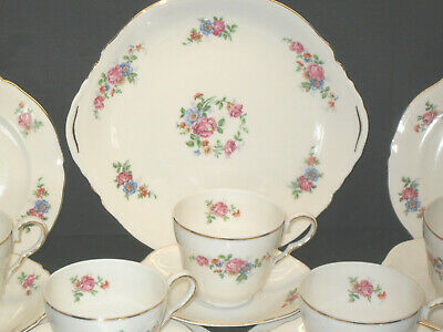 Durham English Antique Fine Bone China Tea Set Pink Floral Pattern Set One