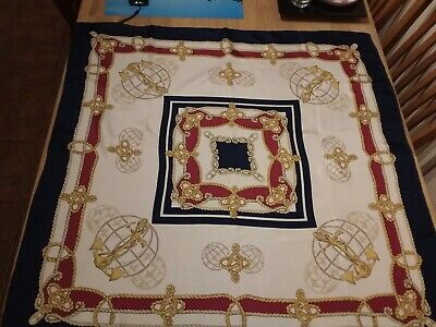 Beautiful Nautical silk scarf hand rolled edges 34 x 34 inches sq fab condition