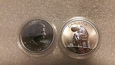 2011 Canada $5  Wolf Wild Life series 1oz .9999 Silver Mint condition in capsule