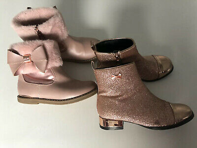 Ted Baker Girls Boots Fashionable Winter Zip Up Size 10 Glitter Fur Bow Bundle