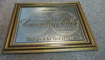 """Vintage Canadian Club Imported Whiskey Glass Mirror Sign Wood Frame 22""""x16"""""""