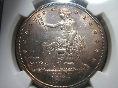 1877-S Silver Trade Dollar NGC MS61 Looks Great with target tones, Must See!!!