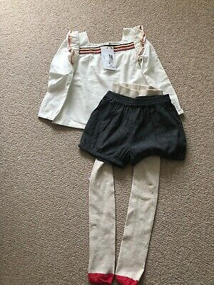 Bnwt Girls M&s Shorts Tights & Tunic Outfit Set 4-5