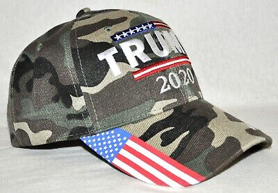 Trump 2020 Keep America Great Embroidered USA Flag Camo Adjustable Fit Hat
