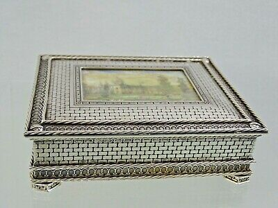 ANTIQUE SILVER JEWELRY BOX PORTUGAL sterling TROMPE L'OEIL painted landscape