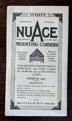 Vintage Packaging NuAce Photo/Scrapbook Mounting Corners - White