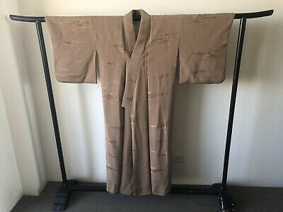 Japanese Vintage Long Silk Kimono Fully Lined Costume Robe Hand Made Art