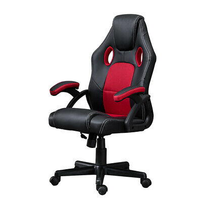Swivel Racing Sport Gaming Office Chair Computer Chair Faux Leather Black&Red BN
