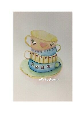Tea Cups Illustration Watercolour Teacups Painting By Kenna Unframed Original