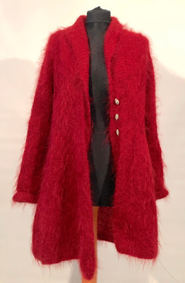 Vintage 1980s Red Mohair Cardigan size 12 to 14