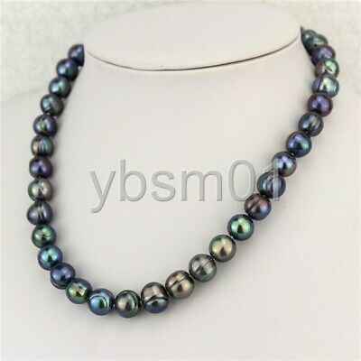 """18/"""" 10-11mm Peacock Freshwater Pearl Necklace Strand Fashion Jewelry"""
