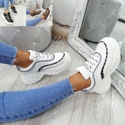 Womens Ladies Lace Up Chunky Platform Trainers Sneakers Party Lace Up Shoes