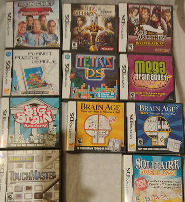 Nintendo DS Lite + 11 Games-Tetris, Ace Attorney, puzzle and brain games...