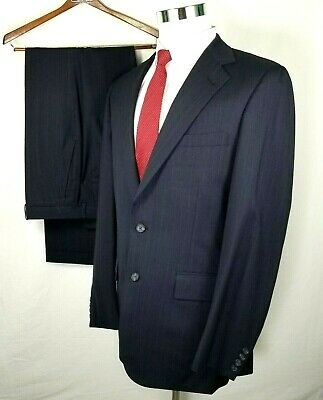 Tom James Suit Size 38 Regular 32 x 33 Navy Blue Pinstripes Vintage Wool USA