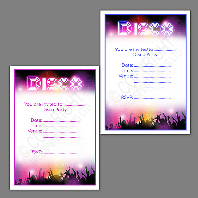 Girls Adult Boys Disco Party Invitations 20 Invites Cards Children Kids