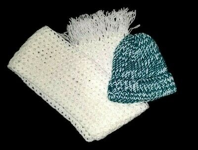 New Handmade Crocheted Ladies Womens Girls Hat and Scarf Set Teal and White