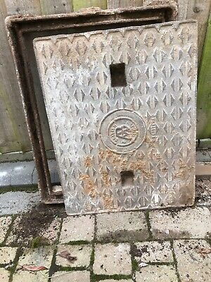 Cast Iron Manhole Cover & Frame.  Cover Size 495mm Wide X 645mm Long. VGC