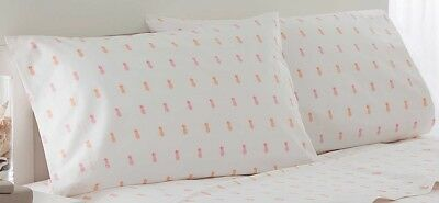 Southern Tide Percale Cotton Pillowcases (2) Pink/Orange Pineapple Standard Size