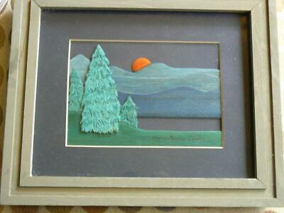 Beautiful Folk Art Carved Painted Wood Picture Setting Sun Nancy Lewis Ewing