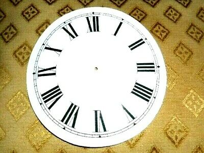 "Round Paper (Card) Clock Dial - 5 1/4"" M/T -Roman -WHITE GLOSS - Parts/Spares"