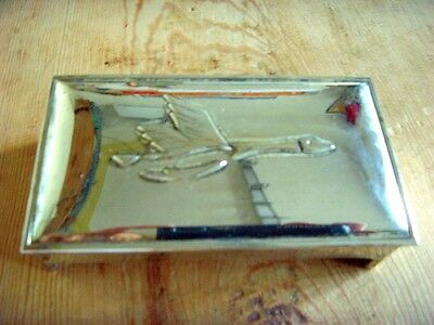 Used - Trinket Box of Silver Metal with Stork in the Cover - Used