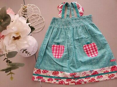 Girls Apron Dress checker embroidered with flower on front slipover head 6-12M