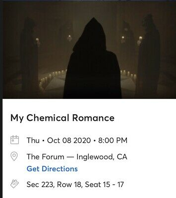 3 TICKETS TO My Chemical Romance (MCR) The Forum October 8th 8PM