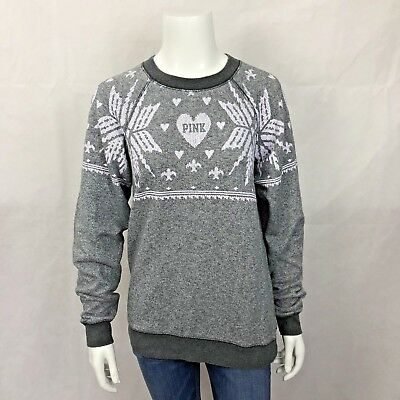 Victorias Secret PINK Sweatshirt XS Snowflake Gray Crew Neck Long Sleeve Holiday