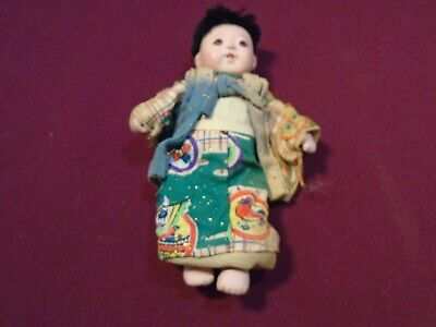 """Vintage Japanese Ichimatsu Jointed Boy Doll 7.5"""" Long preowned"""
